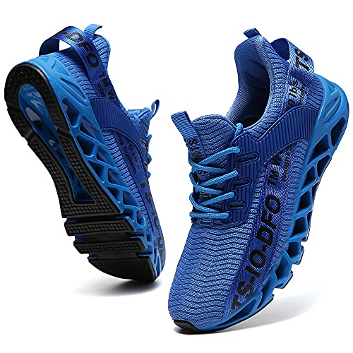FRSHANIAH Sneakers for Men Slip On Casual Sport Running Shoes Athletic Non-Slip Jogging Tennis Walking Shoes Blade Type Fashion Sneaker Gym Runner Trail Workout Shoes Light Blue Size 11