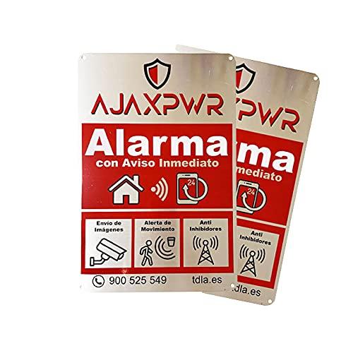 Pack 2 Unidades ahorro Cartel Alarma Hogar Disuasorio en Placa de Aluminio de 20x30cm