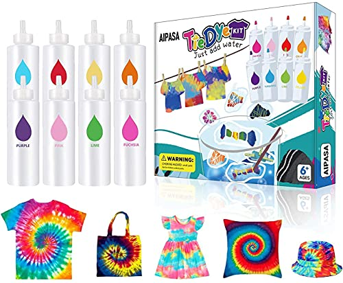 Tie Dye Kit, 8 Colors 16 Dye Packets for Tie Dye Kit for Kids,AIPASA One-Step...