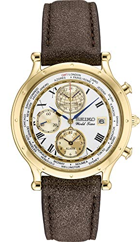 Seiko 30th Anniversary GMT World Time Limited Edition Watch SPL060 Gold Brown