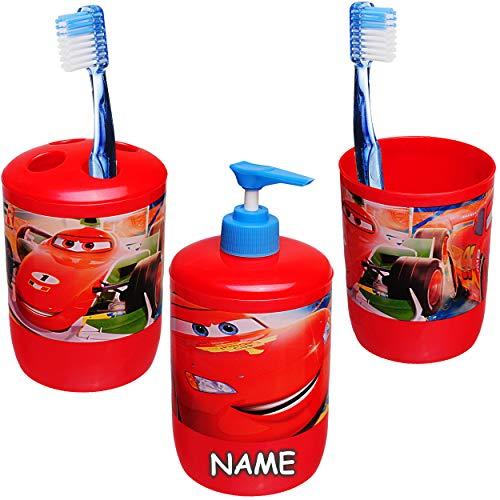 alles-meine.de GmbH 3 TLG. Badeset & Zahnputzset _ Disney Cars - Auto - Lightning McQueen - inkl. Name - Seifenspender + Zahnputzbecher + Zahnbürstenhalter - für Zahnbürste - Kin..