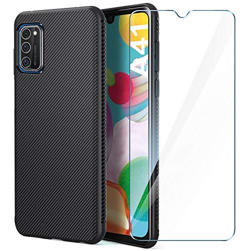 AROYI Samsung Galaxy A41 Hülle Silikon & HD Panzerglas, Handyhülle Samsung Galaxy A41 Slim Silikon Soft TPU Bumper Hüllen Kratzfeste Stoßfest Schutzhülle für Samsung Galaxy A41 Smartphone - Schwarz