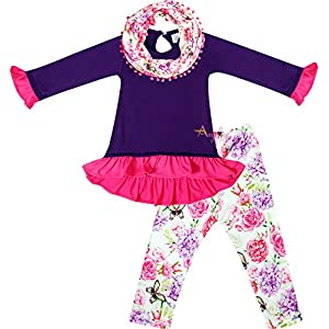 Toddler Little Girls Spring Colors Easter Outfits – Top Leggings Scarf Set – Unique Boutique Designs & Quality