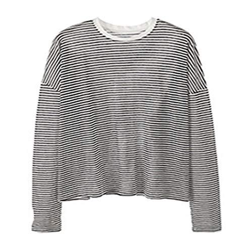 Camiseta de manga larga a prueba de sol a rayas para mujer