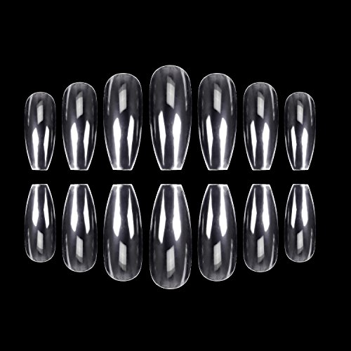 ECBASKET 500PCS Coffin Nails Clear Ballerina Nail Tips Perfect Length Acrylic Nails Full Cover False Artificial Nails 10 Sizes For...