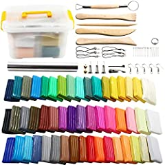 50 Color Polymer Clay Starter Kit:50 colors polymer clay blocks; 1 portable storage box; 5 wooden sculpting tools; 1 rolling pin and 9 kinds of creative accessories, included model bases, hairpin holder, bells, earring hooks, ring holders, phone chai...