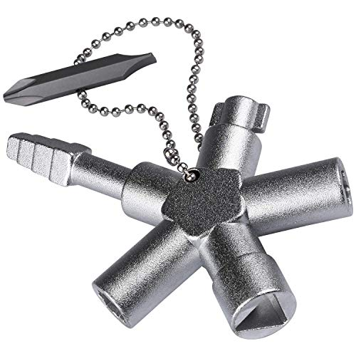 ABSINA Universalschlüssel mit 6 Profile - Universal Schlüssel für gängige Schränke & Absperrsysteme - Schaltschrankschlüssel Vierkant Dreikant Vierkantschlüssel Dreikantschlüssel Multi Key