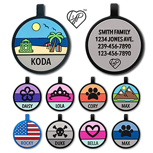Love Your Pets Soundless Pet Tag - Designer Deep Engraved Silicone – Double Sided and Engraving Will Last - Pet ID Tags, Dog Tags, Cat Tags (Multi-Colored, Beach)
