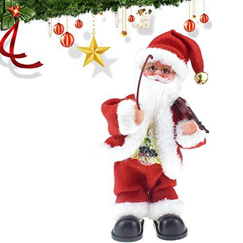 Asien 1pc Électrique du Père Noël Jouets Jouer du Violon Chanter Et Danse Musicale D'animation en Peluche De Noël Bureau Table Décor