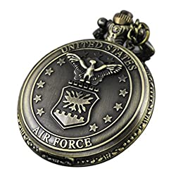 Image: VIGOROSO Vintage Retro Pocket Watch UNITED STATES AIR FORCE Style Bronze Steampunk Chain in Gift Box