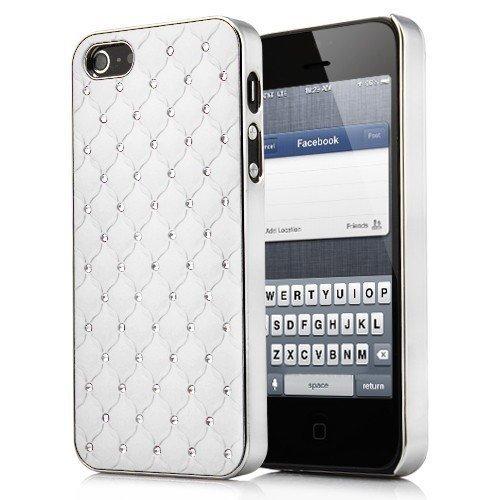 Cover Housse de protection des bornes pour Apple iPhone 5 femmes cover-girl chic et élégant femelle blanc brillant strass argent de téléphone portable