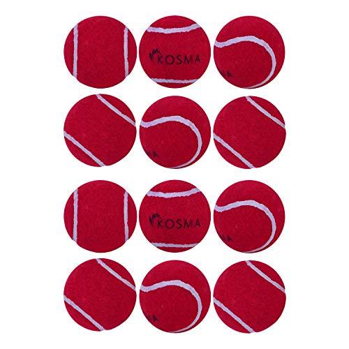 Kosma Set mit 12 Tennisbällen für Haustiere, Spielball für Haustier-Training, in Netz-Tragetasche, Farbe: Rot