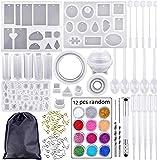 Molde Silicona Resina epoxi para creación de joyas 98pz Moldes para fundición de joyas Craft DIY Set Molde Resina para Hacer Joyerias Collar Pendiente Fabricación de Colgante