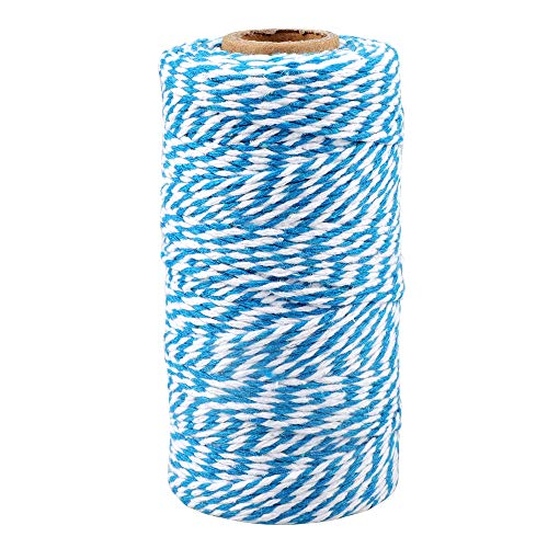 Blue and White Twine,100M/328 Feet Cotton Bakers Twine,Christmas String,Heavy Duty Packing String for DIY Crafts and Gift Wrapping