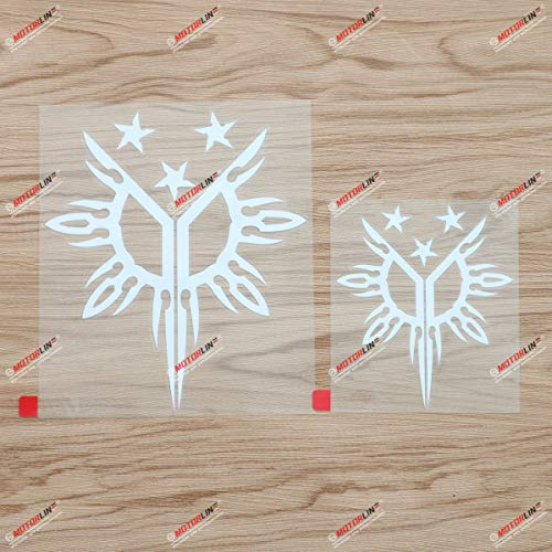 Pilipinas Three Stars Sun Philippines Tribal Filipino Decal Vinyl Sticker - 2 Pack White, 4 Inches, 6 Inches - Die Cut No Background for Car Boat Laptop
