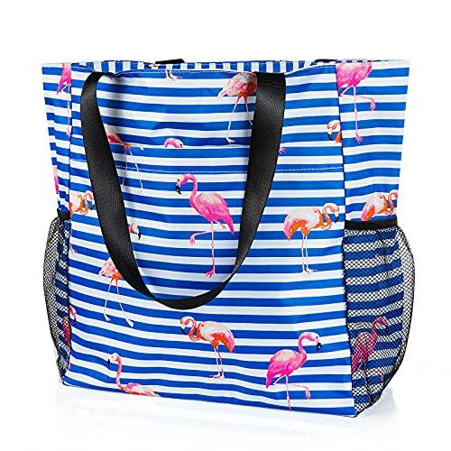 Comius Sharp Grande Borsa da Spiaggia, Borsa a Tracolla Shopper Borsa da Spiaggia in Tela con Tasche Multiple, Shopper Tracolla per Palestra, Escursionismo, Picnic, Viaggi (Flamingo)