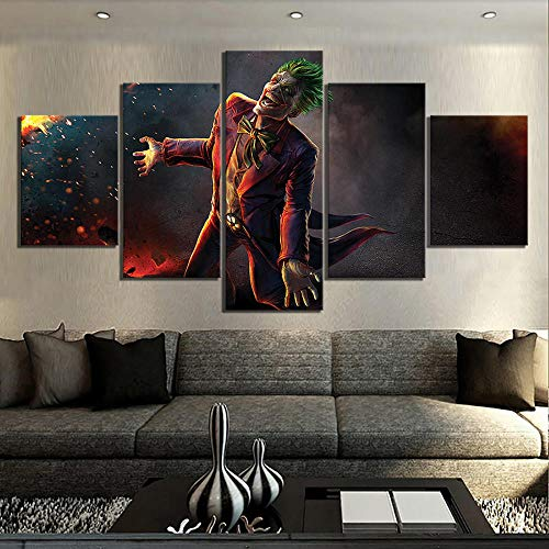 IILSZMT Canvas Print Wall Art Picture Home Decor 5 Pieces Panel Pictures Super Villain Laughing Suicide Squad Movie Framed Artwork Oil Decoration Photo Prints