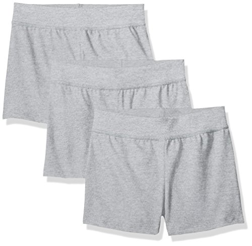 Hanes Little Girls' Jersey Short (Pack of 3), Light Steel, Medium