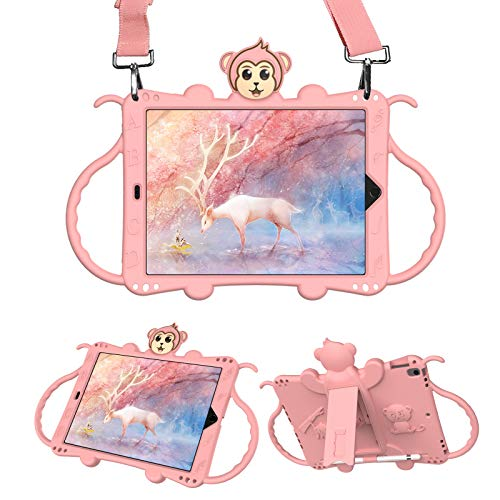 UCMDA Kids Case for iPad 7th / 8th Generation, Compatible with iPad 10.2 Inch 2019/2020, Cute Monkey Shockproof Handle Stand Shoulder Strap Kids Case (Pink)
