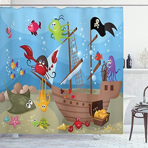 ABAKUHAUS Pirat Duschvorhang, Schiff Unterwassertiere, mit 12 Ringe Set Wasserdicht Stielvoll Modern Farbfest & Schimmel Resistent, 175x180 cm, Mehrfarbig