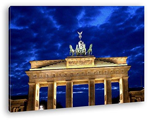 gigantisches Brandenburger Tor bei Nacht Effekt: Zeichnung im Format: 80x60 als Leinwandbild, Motiv fertig gerahmt auf Echtholzrahmen, Hochwertiger Digitaldruck mit Rahmen, Kein Poster oder Plakat