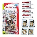 Fischer 045490 Skl-M Kit Appendi Specchio con Ganci e Tasselli Duopower, per Fissaggio su Ogni Tipo di Muro, 45490, Argento