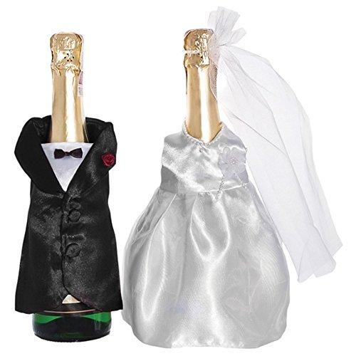 champagner-flaschen BODA BOTELLAS DE CAVA deko-kleidung SET DE DOS PAREJA DE NOVIOS verkleidung. von CASA der corazones