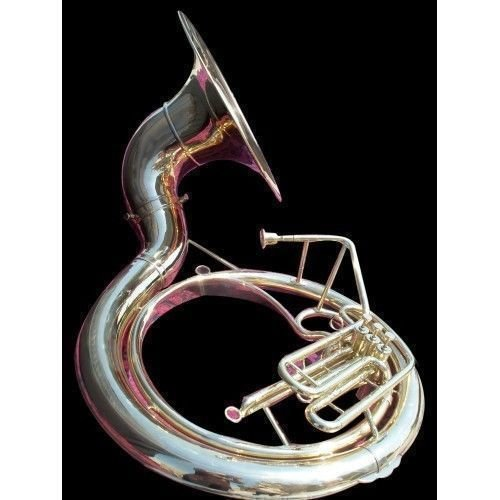 INDIAN HANDMADE BRASS FINISH SOUSAPHONE BRASS MADE TUBA MOUTH PIECE WITH CARRY BAG 25""
