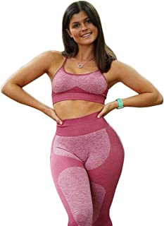 XFKLJ Sports Bra Yoga Pants Women Seamless Sportswear High Waist Yoga Set Fitness Clothing Gym Running Workout Sports Bra+...