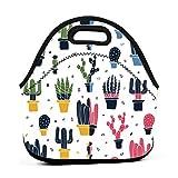 Cactus PlantsBolsa de almuerzo de neopreno reutilizable portátil bolsa de almuerzo ligera para mujeres niñas y hombres niños 1 color