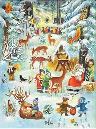 Grote adventskalender 24 deuren 355 x 260 mm - Sneeuwscène kerstdieren in het bos - met glitter en doorschijnende ramen - RS 70108 - traditioneel antiek Duits ontwerp