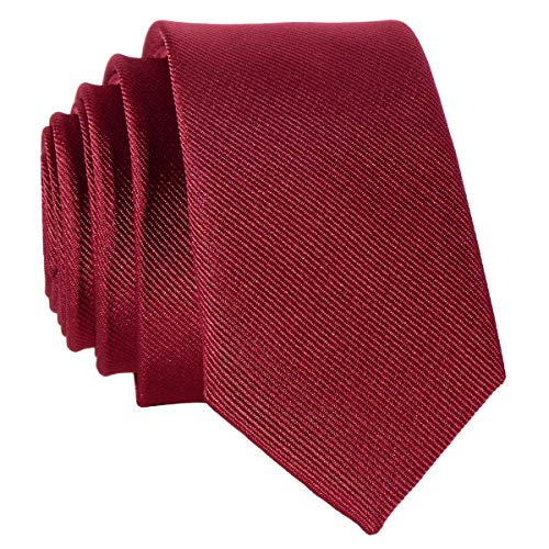 DonDon schmale bordeauxrote Krawatte 5 cm