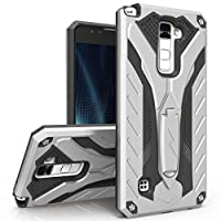 Zizo Static Series Compatible with LG Stylo 2 Case Military Grade Drop Tested with Built in Kickstand Silver Black