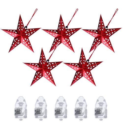 SOLUSTRE 5 Faroles de Estrella de Papel Puntiagudos Que Cuelgan Pantalla Navidad Estrella Colgante Luz LED para Bodas Cumpleaños Decoraciones Rojas