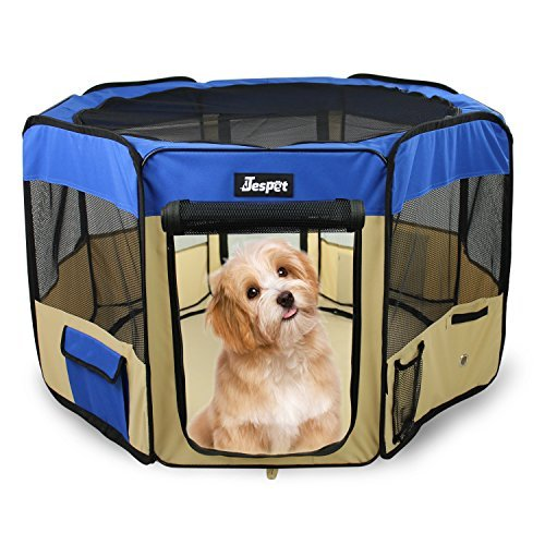 """JESPET 61"""" Pet Dog Playpens, Portable Soft Dog Exercise Pen Kennel with Carry Bag for Puppy Cats Kittens Rabbits,Blue"""