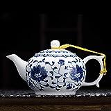 Tetera Crema Cerámica Kungfu Tetera Juego De Té Pequeña Olla Individual Pequeña Capacidad Neumáticos De Porcelana Azul Y Blanca Underglaze Estilo Chino
