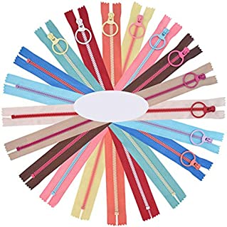 Cremalleras de Colores,Cremalleras de Resina 10 Piezas 30cm Cremalleras de Costura con Anillo de Metal para Sastre Costura Manualidades Bolsa Ropa