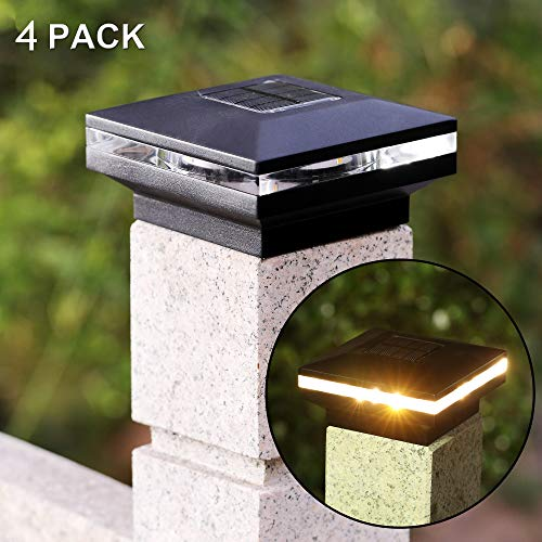 MAGGIFT 15 Lumen Solar Post Lights, Outdoor Post Cap Light for Fence Deck or Patio, Solar Powered Caps, Warm White High Brightness SMD LED Lighting, Lamp Fits 4x4, 5x5 or 6x6 Wooden Posts, 4 Pack