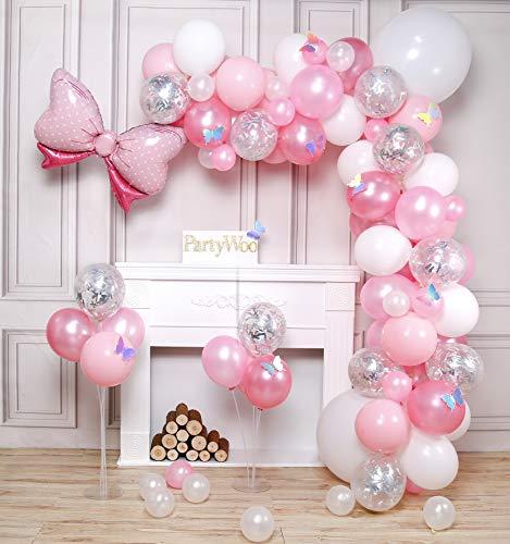 PartyWoo Globos Rosa, 100 Piezas Globos Rosa, Globos Rosa Pastel, Globos Confeti Plateados, Globos Blancos, Globo de Aluminio con Pajarita y Mariposas Láser para Niña Baby Shower, Cumpleaños de Niña