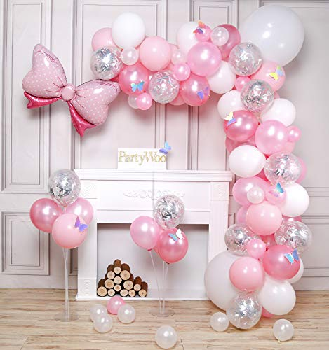 PartyWoo Palloncini Rosa, 100 Pezzi Palloncini Rosa, Palloncini Rosa Pastello, Palloncini Argento, Palloncini Bianchi, Palloncino Stagnola e Farfalle Laser per Baby Shower, Compleanno Ragazza
