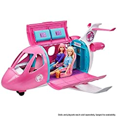 ​Imaginations can take off to anywhere in the Barbie Dreamplane that doubles as a vehicle and a playset! ​More than 15 pieces -- including a puppy travel companion -- provide the ticket to fun! ​Push it on its rolling wheels to taxi on the runway. ​O...