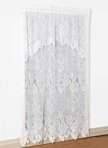 """Carol Wright Gifts Lace Panel with Valance, White, Size 60"""" W x 63"""" L"""