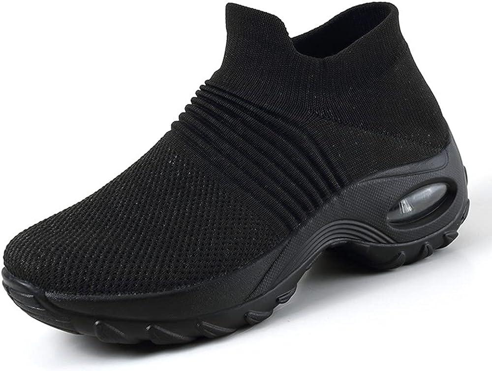 Women Men Mesh Slip On Sneakers Lightweight Comfortable Breathable Knit Walking Shoes Full Black