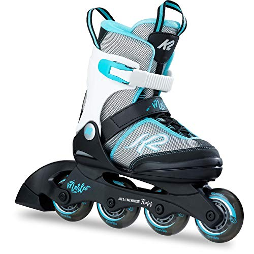 K2 Skates Mädchen Inline Skate Marlee — Black - Grey - Light Blue — S (EU: 29-34 / UK: 10-1 / US: 11-2) — 30B0202