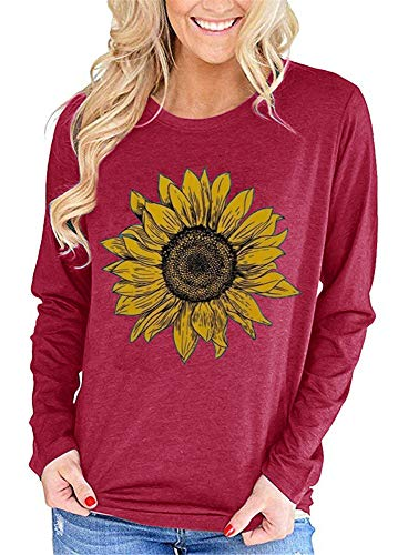 Cicy Bell Womens Casual Long Sleeve Sunflower Graphic Casual Round Neck Pullover T Shirts Tops Wine Red
