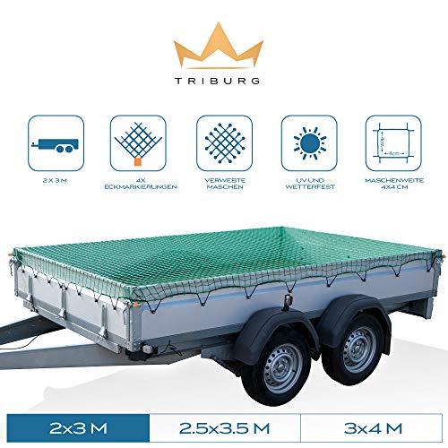 TRIBURG® Anhängernetz 2x3 mit Eckmarkierungen - Hängernetz mit Spanngummi zur optimalen Ladungssicherung - Anhänger Netz mit Gummiseil