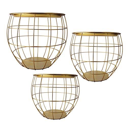 Cepewa Beistelltisch 3er Set Design rund aus Metall in schwarz weiß grau Silber Kupfer oder Gold Ø 29 cm Ø 38 cm Ø 50 cm (Gold)