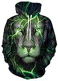 SunFocus Sudadera con Capucha Unisex Hombres Mujeres 3D Otoño Invierno Ropa Cara de león Estampado gráfico Realista Sudadera de Manga Larga Pullover con Bolsillo L