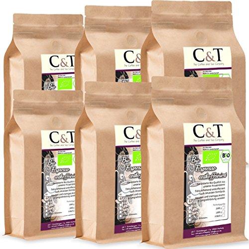 C&T Bio Espresso Crema | Cafe entkoffeiniert 100 % Arabica 6x1000 g ganze Bohnen (inklusive gratis Kaffeesack) Sparpack im Kraftpapierbeutel