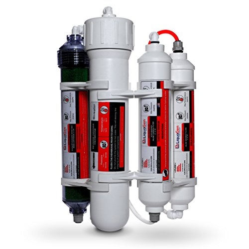 LiquaGen - 4-Stage Reverse Osmosis and Deionization RO/DI Portable Space Saver Water Filter System - 50 GPD